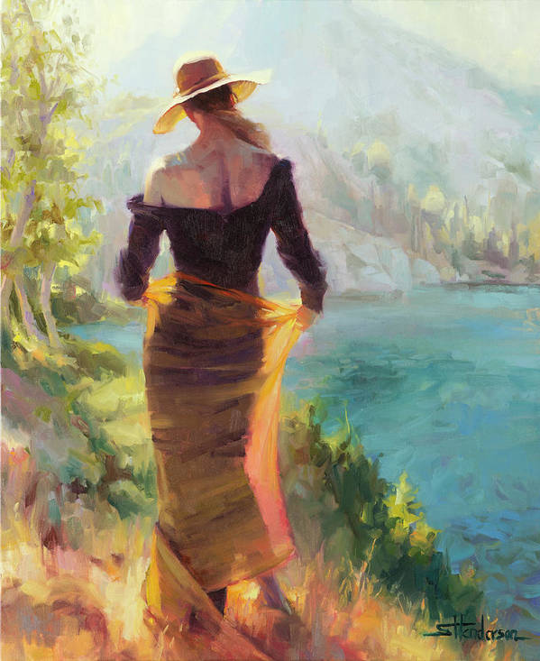 Woman Poster featuring the painting Lady of the Lake by Steve Henderson