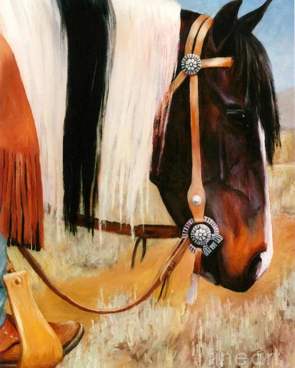 Paint Poster featuring the painting Ladys Jewels Horse Painting Portrait by Kim Corpany