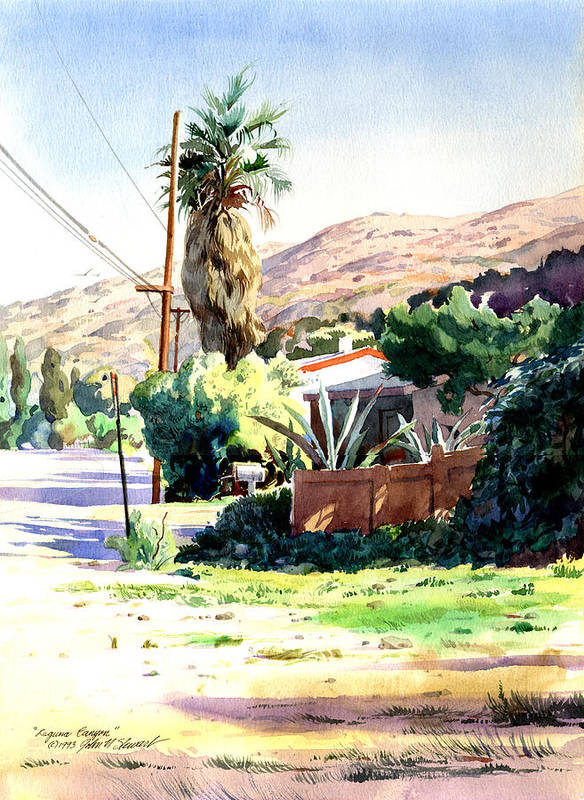 Watercolor Poster featuring the painting Laguna Canyon Palm by John Norman Stewart