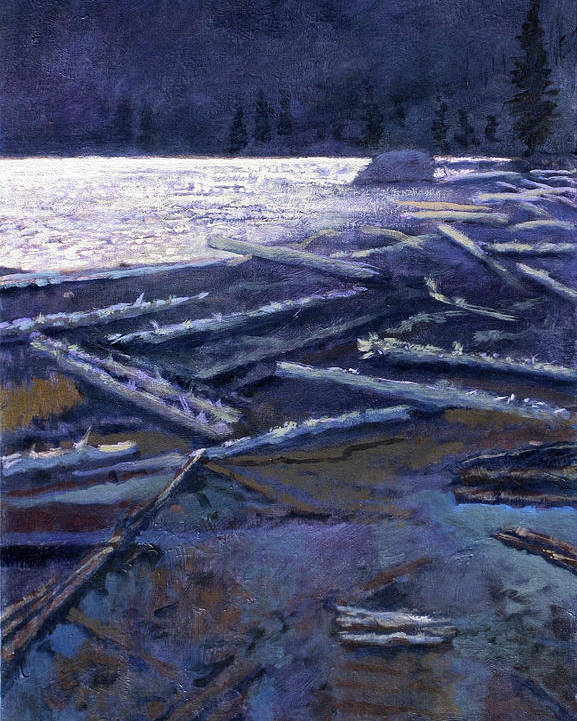 Lake Poster featuring the painting Lake In Moonlight by Robert Bissett