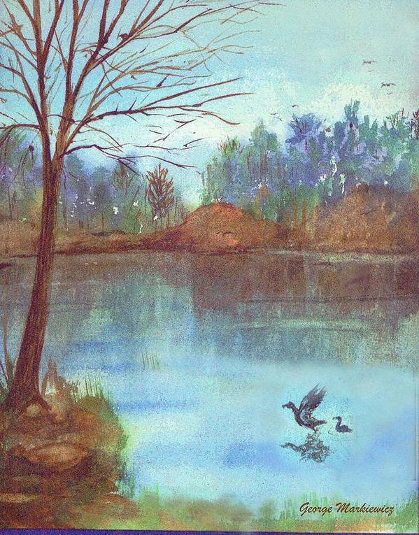 Lake And Ducks Poster featuring the print Lake In The Morning by George Markiewicz