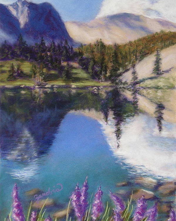 Pastel Poster featuring the pastel Lake Marie by Zanobia Shalks