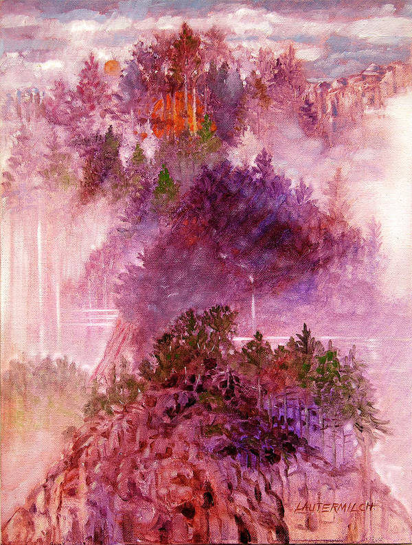 Landscape Poster featuring the painting Lake Memories by John Lautermilch