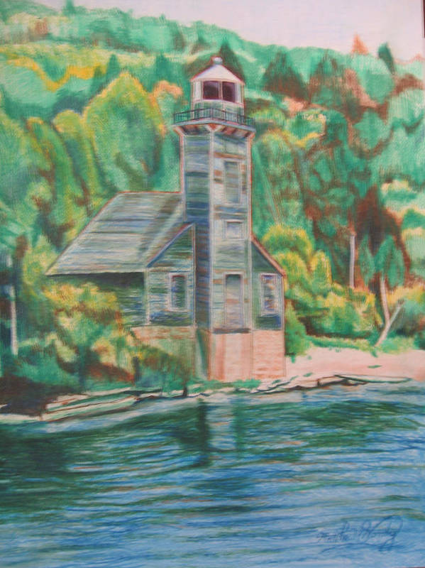 Woods Poster featuring the drawing Lake Michigan Old Lighthouse by Matthew Handy