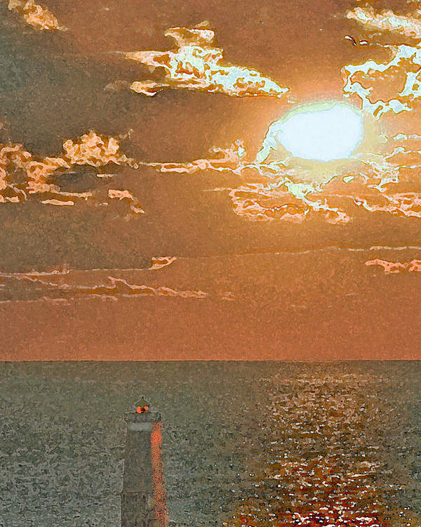 Michigan Poster featuring the mixed media Lake Michigan Sunset. by Jorge Gaete