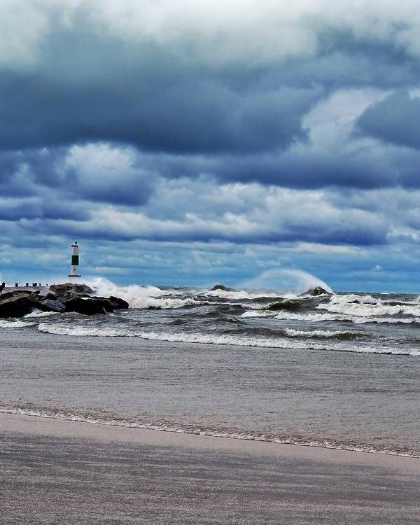 Blue Poster featuring the photograph Lake Michigan With Big Wind by Michelle Calkins