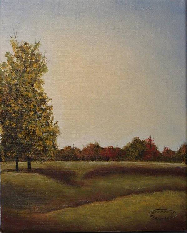 Original Acrylic Landscape Poster featuring the painting Lakeridge Meadow by Sharon Steinhaus