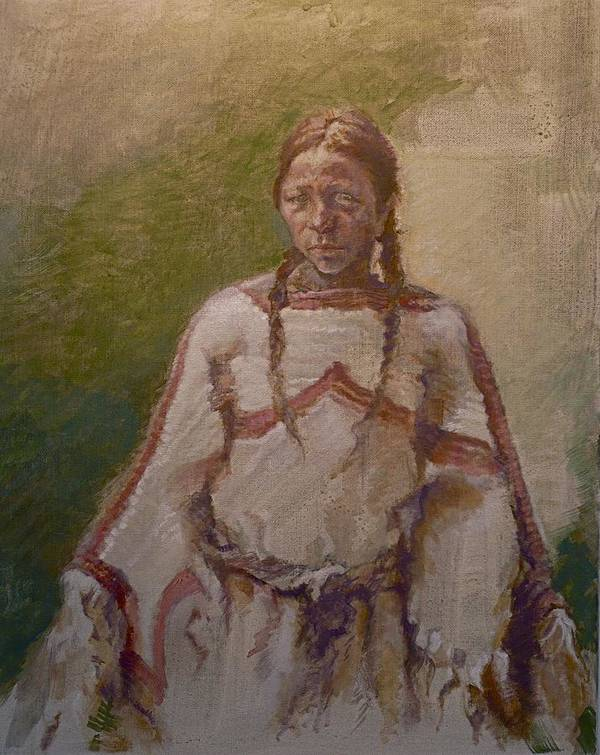 One Wnative American Poster featuring the painting Lakota Woman by Ellen Dreibelbis