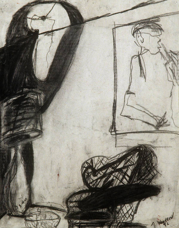 Charcoal Poster featuring the drawing Lampshade Drama by Jamie Wooten