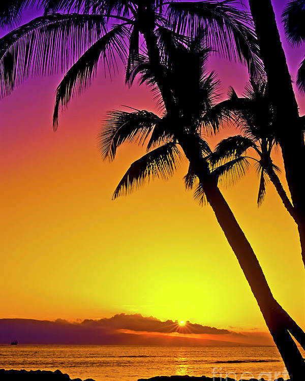 Sunset Poster featuring the photograph Lanai Sunset II Maui Hawaii by Jim Cazel