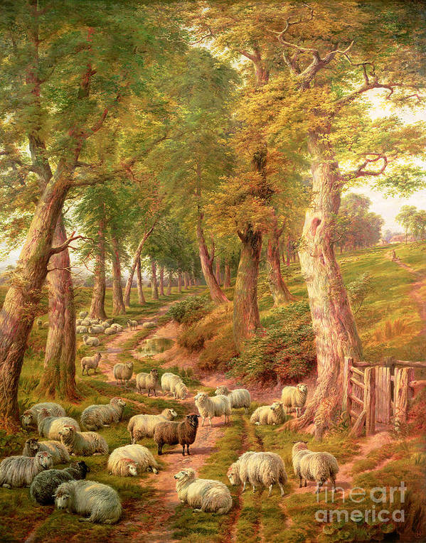 Landscapes Poster featuring the painting Landscape With Sheep by Charles Joseph