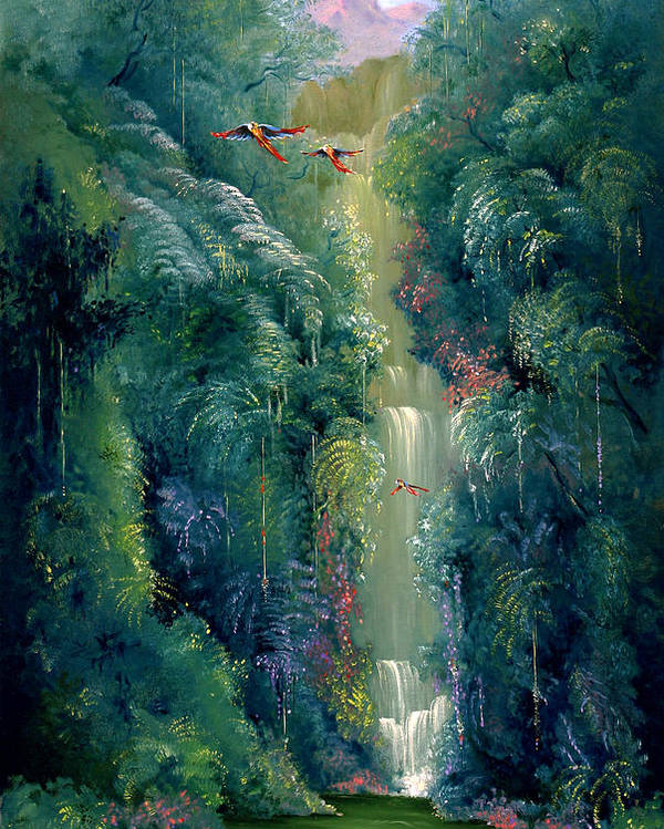 Landscape Poster featuring the painting Lapa Rios by Hans Doller