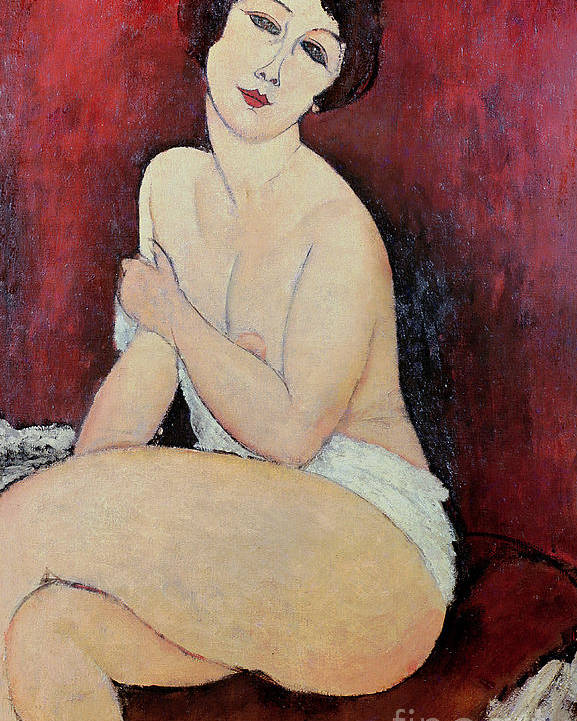 Large Poster featuring the painting Large Seated Nude by Amedeo Modigliani