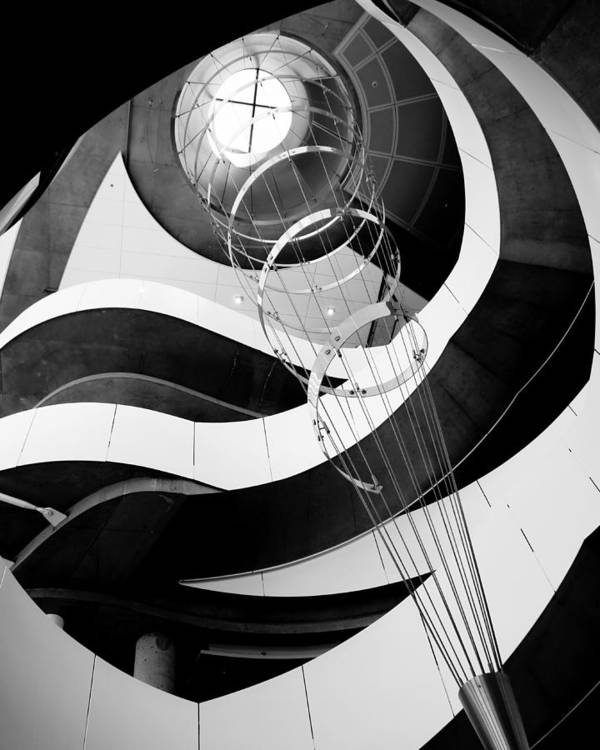 Stair Sculpture Architecture Light Shadow Art Silver Gray Contrast Minnesota Poster featuring the photograph Laser Eye Surgery - B/w by Pete Mikelson
