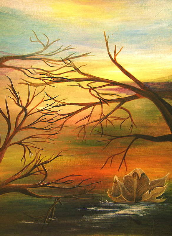 Landscape Poster featuring the painting Last Leaf Of Fall by Vi Mosley