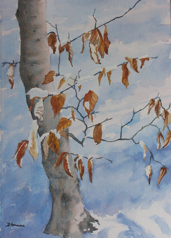 Beech Leaves Poster featuring the painting Last Leaves by Debbie Homewood