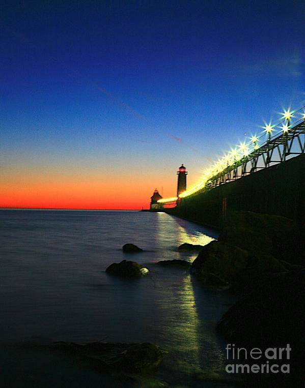 Water Poster featuring the photograph Last Light Grand Haven Michigan by Robert Pearson
