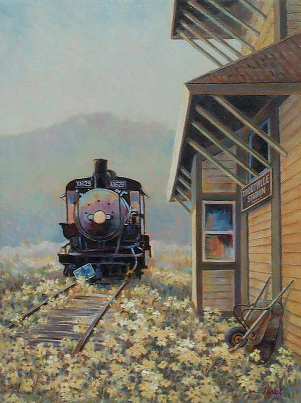 Locomotive Poster featuring the painting Last Stop Troutville by Don Trout