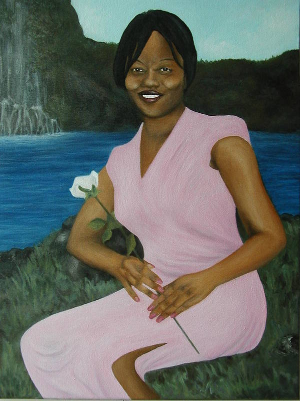 Portrait Poster featuring the painting Latasha by Angelo Thomas