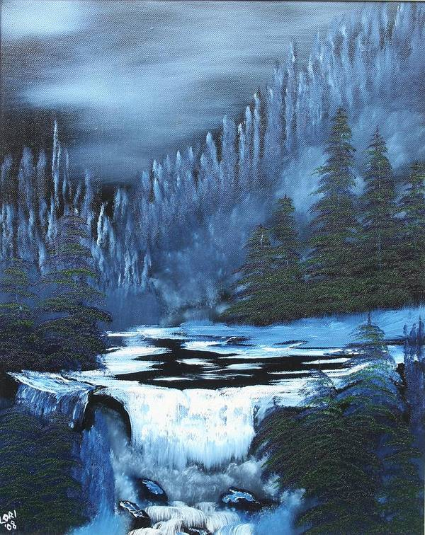 Waterfall Poster featuring the painting Late Night Waterfall by Lori DeBruijn