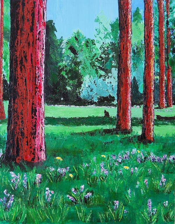 Trees Poster featuring the painting Late Summer Get Away by Susan M Woods