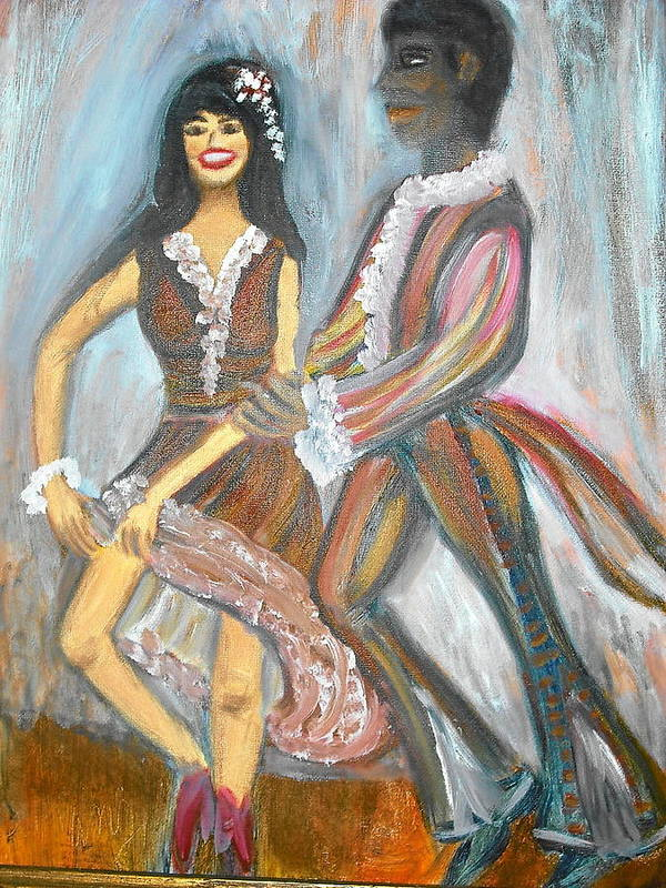 Dancers Poster featuring the painting Latin Dancers 1 by BJ Abrams