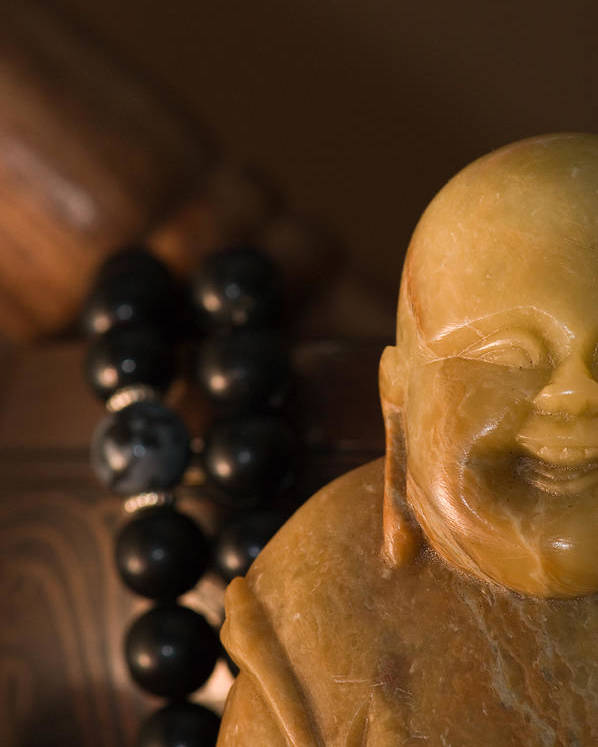 Buddhist Poster featuring the photograph Laughing Buddha by Edward Myers