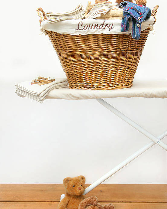 Appliance Poster featuring the photograph Laundry Basket With Teddy Bears On Floor by Sandra Cunningham