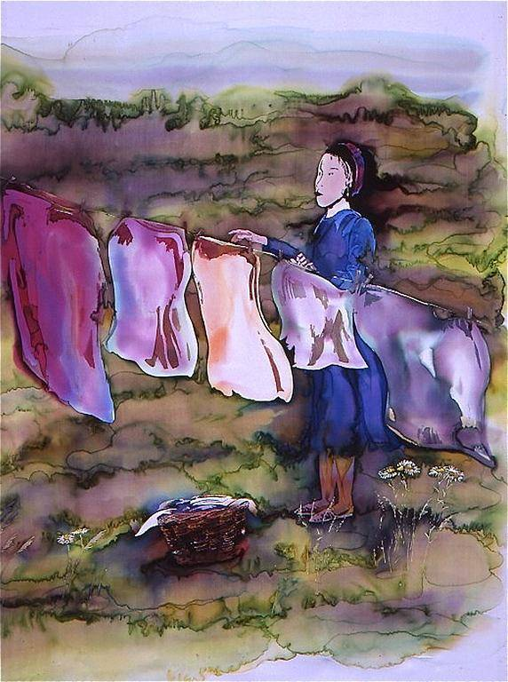 Batik Poster featuring the tapestry - textile Laundry Day by Carolyn Doe