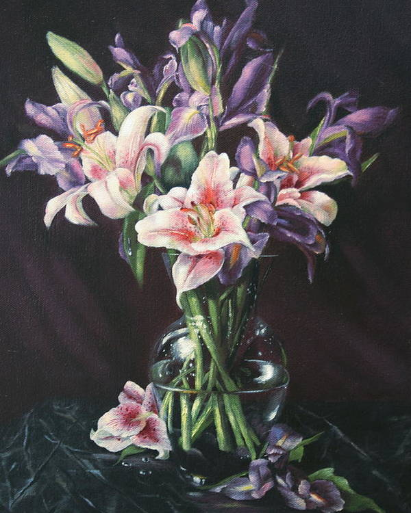 Floral Still Life Poster featuring the painting Laurette' Lillies by Michelle Kerr