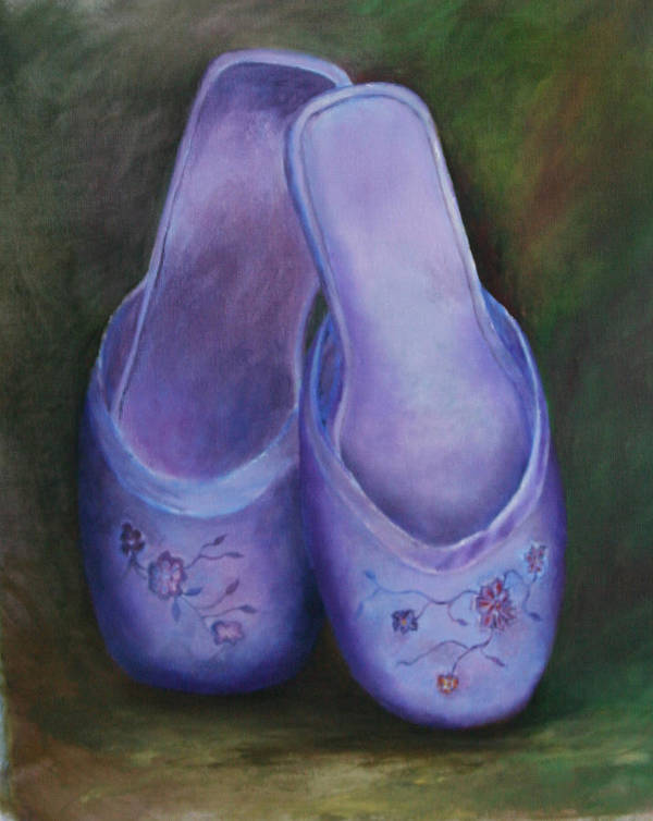 Still Life Poster featuring the print Lavender Slippers by RF Hauver