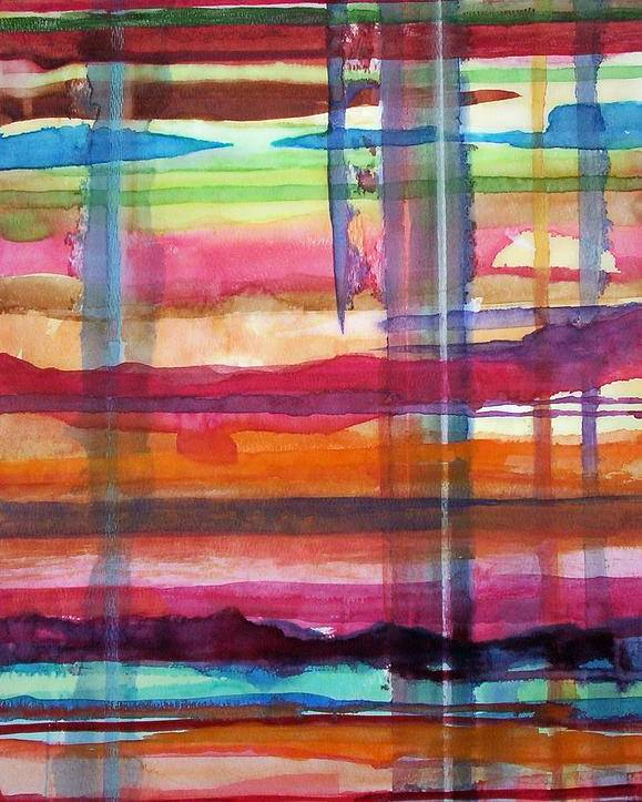 Abstract Poster featuring the painting Layered by Suzanne Udell Levinger