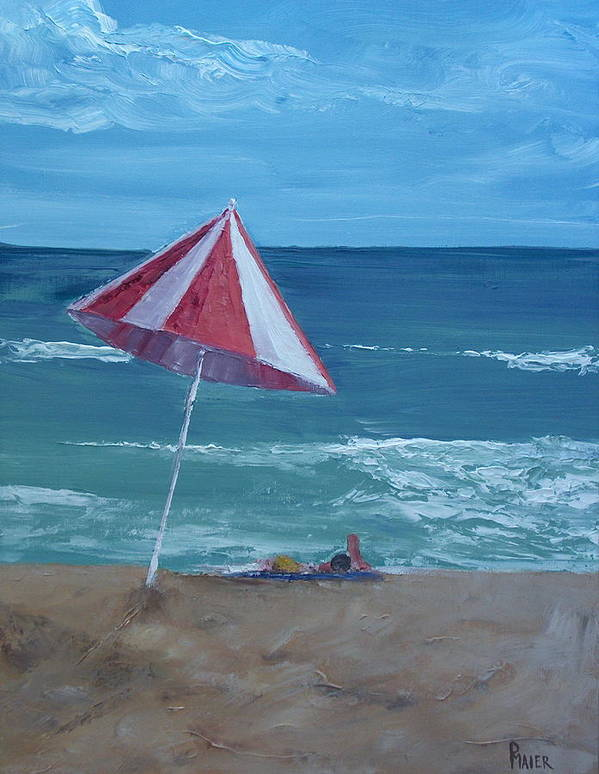 Seascape Poster featuring the painting Layin Out by Pete Maier