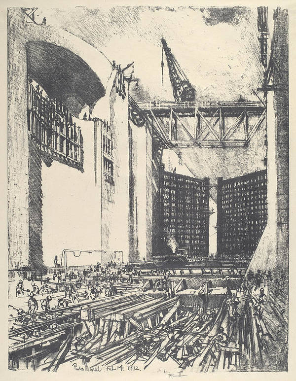 Joseph Pennell Poster featuring the drawing Laying The Floor Of Pedro Muguel Lock by Joseph Pennell