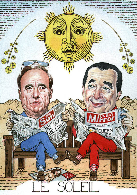 Rupert Murdock Robert Maxwell Tarot Sun Mirror Newspaper Tycoons Sky Caricature Poster featuring the painting Le Soliel by Debbie Diamond