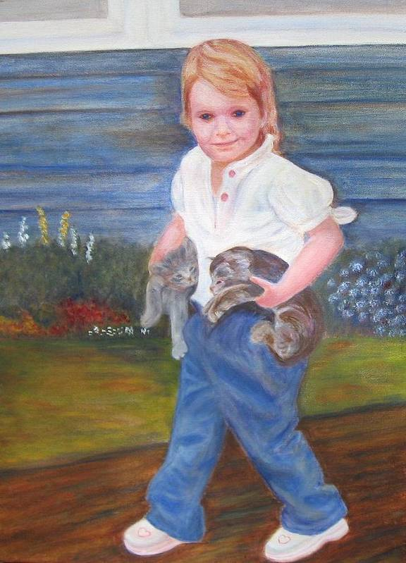 Child Poster featuring the painting Leah by Patricia Ortman