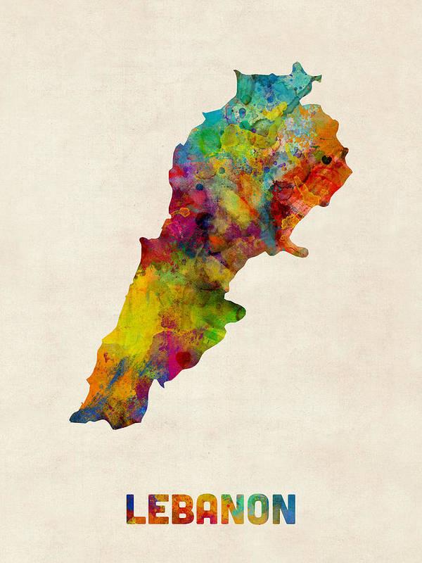 Map Art Poster featuring the digital art Lebanon Watercolor Map by Michael Tompsett