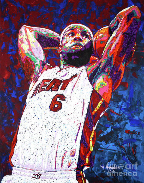 Lebron Poster featuring the painting Lebron Dunk by Maria Arango