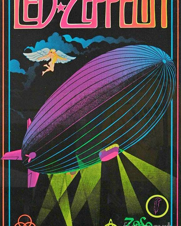 Led Zeppelin Sixties Blacklight Poster Poster By Pd