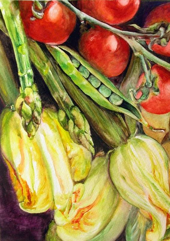 Still Life Poster featuring the painting Legumes by Muriel Dolemieux