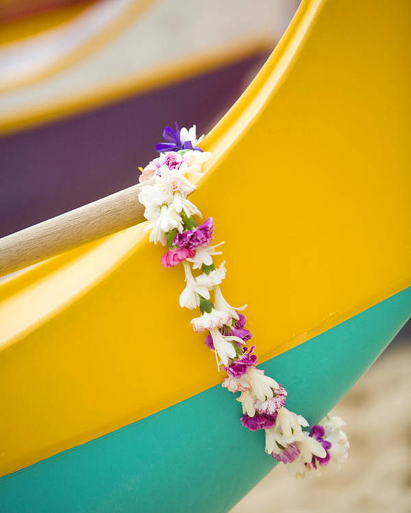 Akau Poster featuring the photograph Lei Draped Over Outrigger by Dana Edmunds - Printscapes