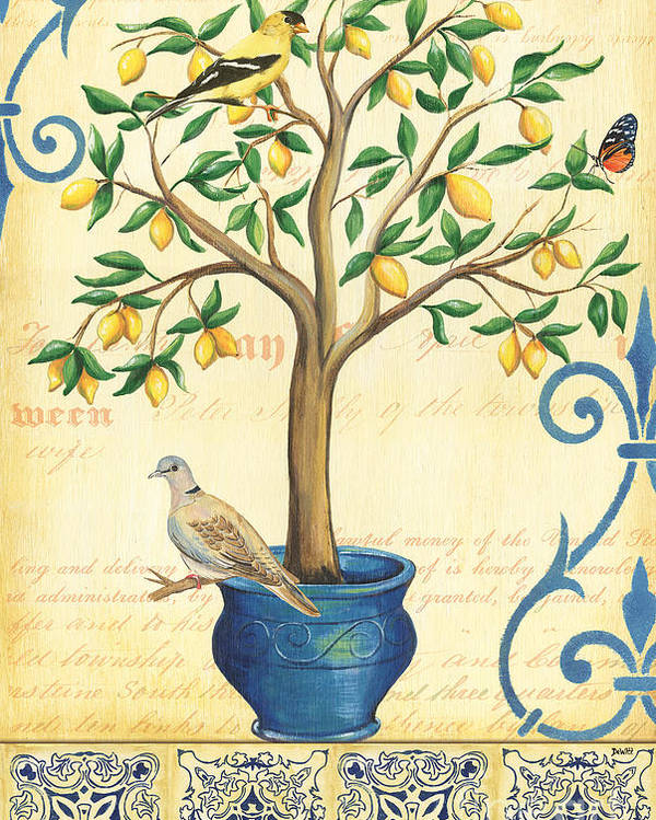 Lemon Poster featuring the painting Lemon Tree Of Life by Debbie DeWitt