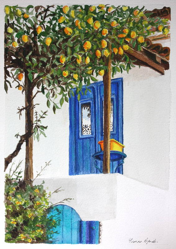 Lemon Tree Poster featuring the painting Lemon Tree by Yvonne Ayoub