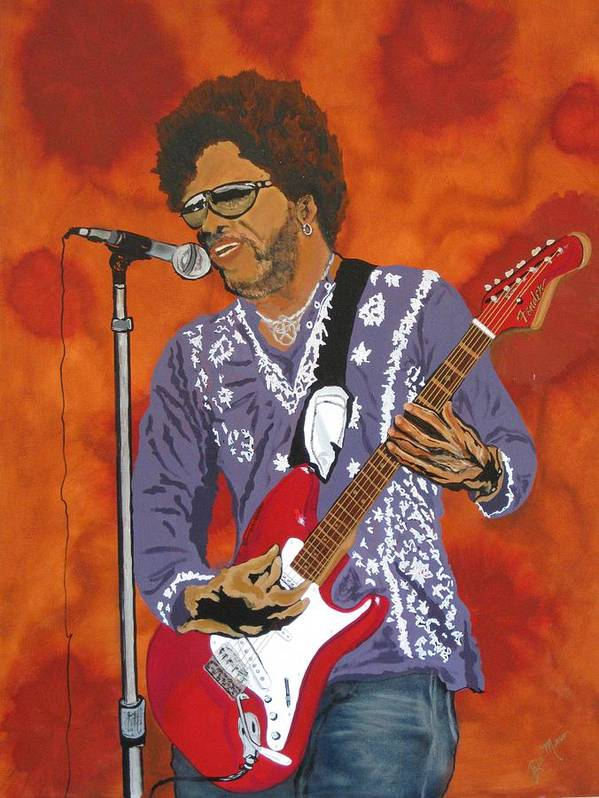 Lenny Kravitz Poster featuring the painting Lenny Kravitz-the Rebirth Of Rock by Bill Manson