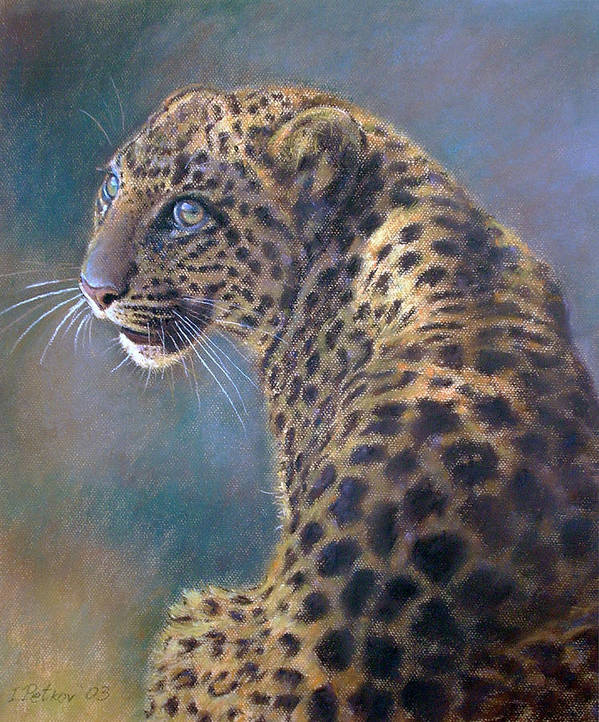 Cats Poster featuring the pastel Leopard by Iliyan Bozhanov