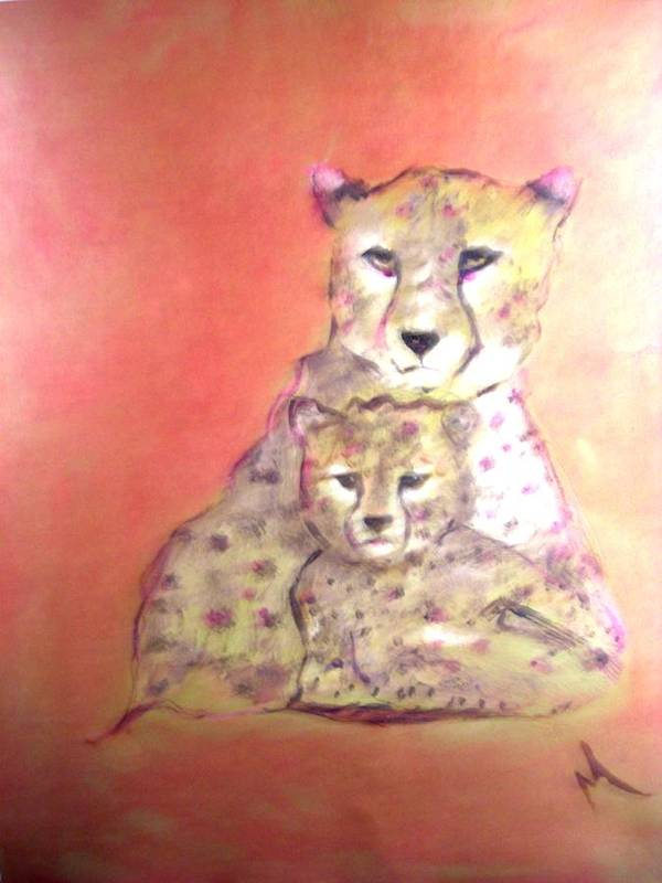 Wildlife Poster featuring the painting Leopard Love by Michela Akers