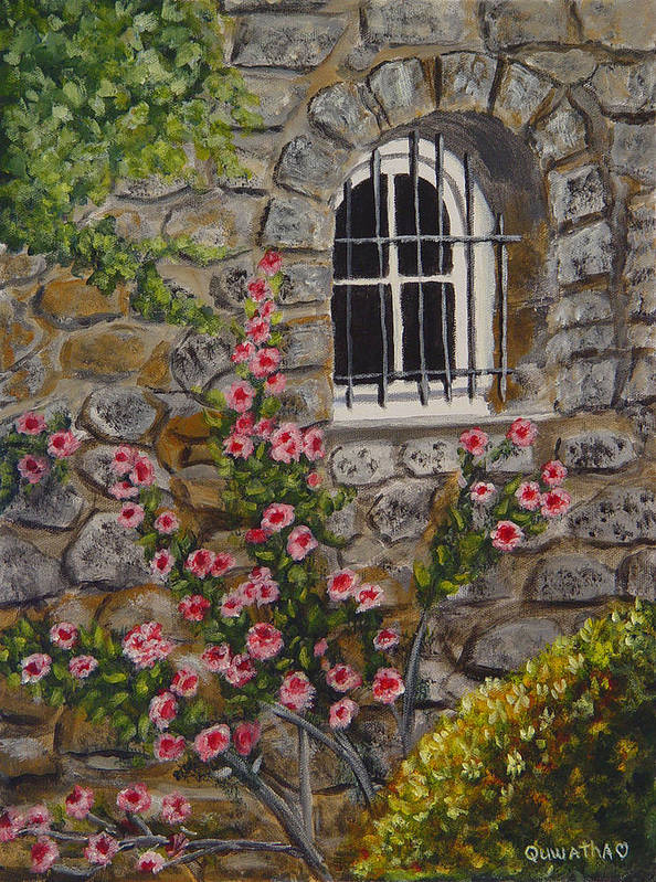 Window Poster featuring the painting Les Arcs Sur Argens by Quwatha Valentine