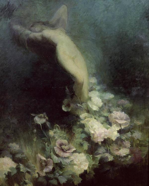 Les Poster featuring the painting Les Fleurs Du Sommeil by Achille Theodore Cesbron
