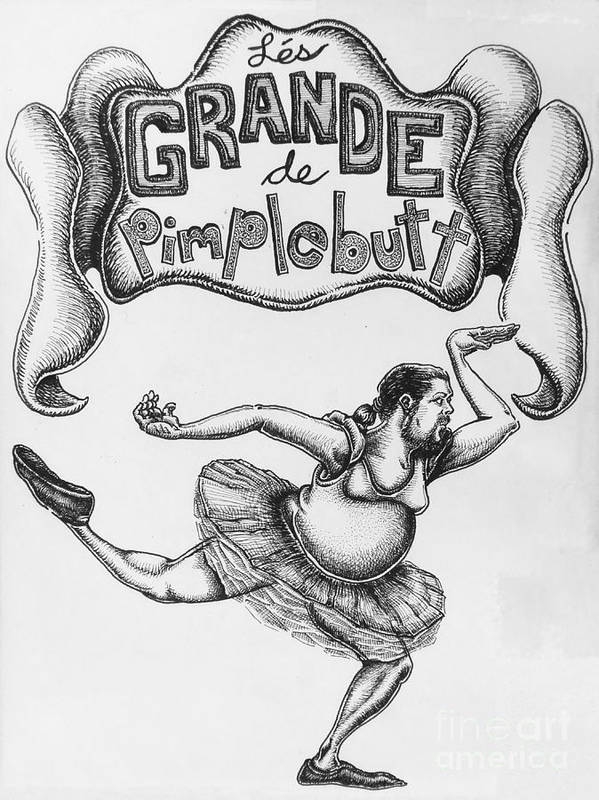 Comic Poster featuring the drawing Les Grande De Pimplebutt by Mack Galixtar
