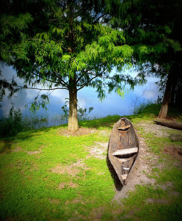 Wooden Canoe Poster featuring the photograph Let's Go . . by Tammy Chesney